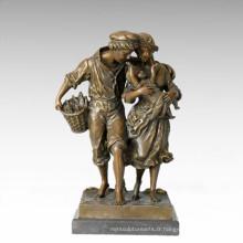 Statue de la vie orientale Ferme Famille Figure de la sculpture en bronze TPE-335