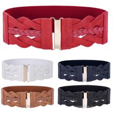 "Grace Karin Women Ladies Girls Fashion 3"" Wide Braided Polyurethane Leather Stretchy Elastic Waist Belt Waistband CL010467"