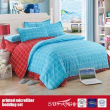 Conjunto de cama de microfibra impresso de tecido escovado azul escovado