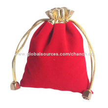 Red Drawstring Bags in Plain Pattern, Suitable for Holding Small Gifts, OEM Designs are Welcome