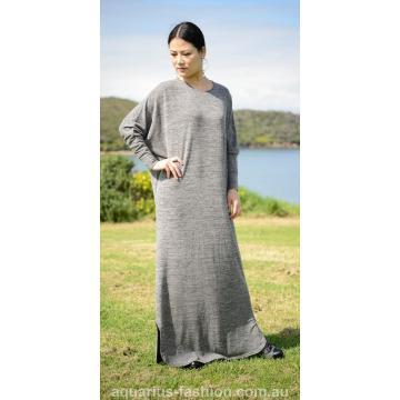 Grey Knit Fabric batwing Dress