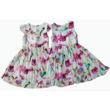Vestido de la muchacha de los niños de la flor en la ropa de los niños (SQD-109-2 COLORS)