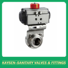 3A Hygienic Butterfly Valve Aluminium Pneumatic Male end