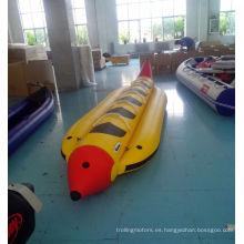 Banana inflable de PVC en forma de barco
