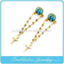 TKB-E0023 cadena de cuentas de rosario de estilo católico con Virgen María y cruz de acero inoxidable 316L pendientes de gota de oro para mujeres