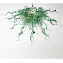 Modern Art Hanging Lamp Amber Glass Chandelier Light in Green