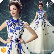 Vestido de Jantar Vestido de noche largo azul Appliqued Tulle del vestido elegante 2016 Vestido de Noite Azul Elegante