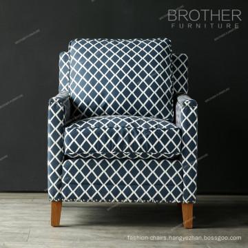 Modern wooden frame single sofa with armrest