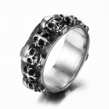 Perhiasan high-end pola retro skull cross rings