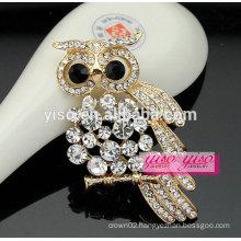 gold plating custom alloy owl brooch wholesale