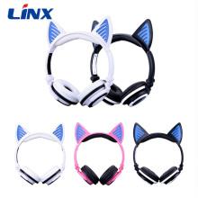 Fone de ouvido Cat Ear Fone de ouvido sem fio com luz LED