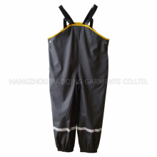 Black Solid PU Suspender Rain Pants