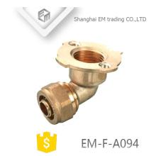 EM-F-A094 mangueira de cotovelo de 90 graus latão tubo de compressão flange encaixe de tubulação