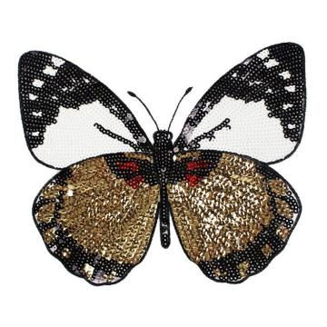 New Butterfly Embroidery lace applique paillette fabric