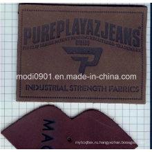 Тисненая кожа этикетки для Жана новой конструкции Eco-Содружественная Белая кожаная нашивка с металлической