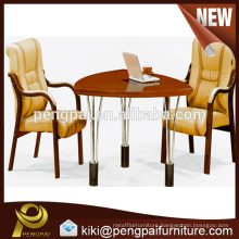 Small size oval wooden meeting table design with steel leg