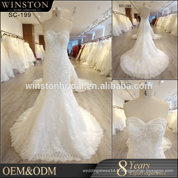 2017 Dernier design magnifique robe de mariée blanche robe de mariée en dentelle française robe de mariée en alibaba sans bretelles