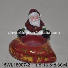 Natal, PRESENTE, cerâmico, vela, suporte, santa, claus