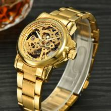 gold automatic skeleton mens watch