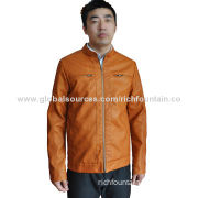 Men's PU Leather Coat Jackets, Available in Bronze