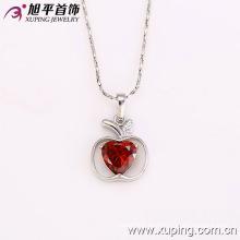 31843 Colgante de cadena de joyería de imitación de corazón de rodio en forma de manzana de encanto de moda
