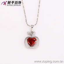 31843 Pendentif à chaîne en forme de pomme en forme de coeur rhodié imitation de coeur