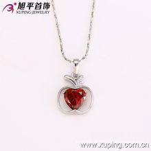 31843 moda charme ródio em forma de maçã coração imitação de jóias cadeia pingente