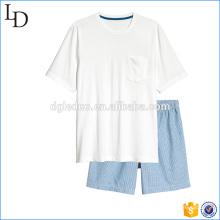 Top e shorts homens casuais shorts de algodão conjuntos de pijamas