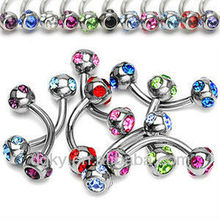 Steel ball belly piercing,diamond belly piercing