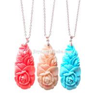 Fashion Bohemian Stone Flower Anhänger Halskette, Boho Chic Blumen Halskette
