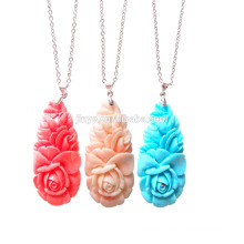 Fashion Bohemian Stone Flower Pendant Necklace, Boho Chic Flower Necklace