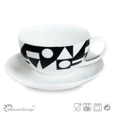 8oz Porcelain Cup and Saucer Black Decal Design