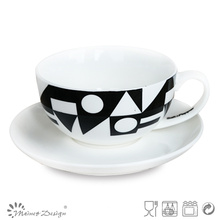 Ensemble de thé de 8 oz avec motif de décalque noir
