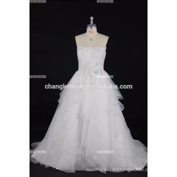 High Quality Half Sleeve Lace Wedding Dress Off Shoulder Train Full Skirt Satin Wedding Dress