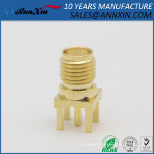 13.5mm RP-SMA jack male pin end launch PCB mount solder connector