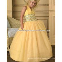V-cuello halter cuentas de color amarillo por encargo vestido de baile desfile flor chica vestidos CWFaf4538