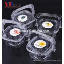 Китайский завод пластиковых ПЭТ материал портативный торт / фрукты / салат коробка с ручкой пластиковые инъекции плесень