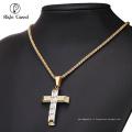 Китай Оптовая Моды для мужчин цепи из нержавеющей стали Кристалл крест 24k золото ювелирные изделия ожерелье модели