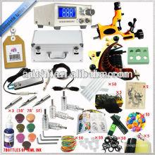 Caja de aluminio envasada Kit completo de máquina de tatuaje con fuente de alimentación LCD y máquina Dragonfly