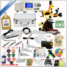 Aluminum case packed Complete tattoo machine kit with LCD power supply and Dragonfly machine