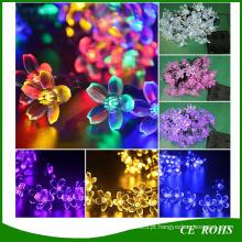 Solar Power Fairy String Luzes 20/30/50 LED Flor De Pêssego Decorativo Jardim Gramado Pátio Árvores De Natal Luzes Da Festa de Casamento