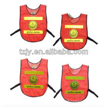 orange 100%polyester mesh no sleeve reflective safety road traffic vest for children