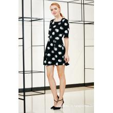 New Fashion Dress Closet Box Plissado Swing Dress em Polka DOT Printing Fabric