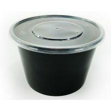 500ml, 650ml, 750ml, recipiente de alimento plástico descartável redondo preto com tampa