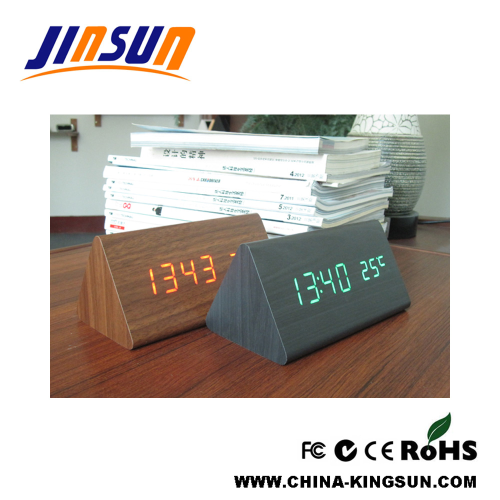 Triangle Led Clock With Temperature 3