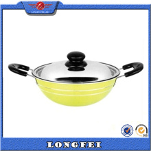 2015 Hot Selling Various Color Glass Lids Indian Wok