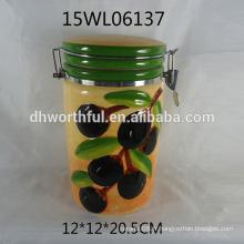 Vente en gros de récipient scellé en céramique avec un design olive pour la nourriture