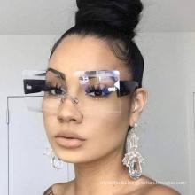 Whoelsae Fashion Trendy Womens Rimless Sqaure Oversized Big Frames Shades Sunglasses