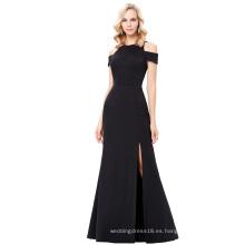 Kate Kasin de manga larga de manga larga negro largo Split vestido de fiesta KK001017-1