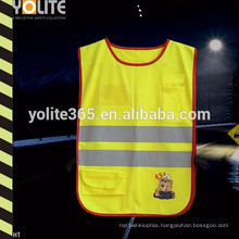 High Quality En1150 Lime Yellow/Rose Pink/Green Reflective Kids Vest with Customed Logo